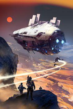 Ideas sci fi concept art spaceships science fiction for 2019 Spaceship Art, Spaceship Design, Spaceship Concept, Concept Ships, Arte Sci Fi, Sci Fi Art, Space Fantasy, Sci Fi Fantasy, Art Cyberpunk