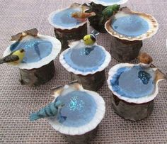 Seashell Bird Baths - Sweet and Whimsical Miniature Fairy Garden Ideas - Photos #miniaturefairygardens #minigardens #miniaturegardens #GardeningIdeas