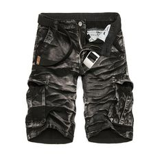 Special Offer Bermuda Masculina Mens Cargo 2016 New Black Camouflage Shorts Men Cotton Work Casual Shorts Plus Size No Belt