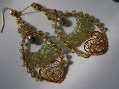 Victorian Love,Peridot,wirework,mint,Ohrringe grün von kunstpause auf DaWanda.com