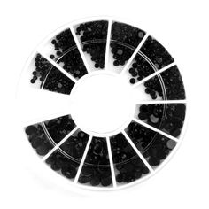 1Box Nail Art Rhinestone High Quality 4 Sizes Black Resin Round DIY Nail Art Tips Decorations 8124129