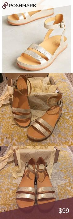 Kork-Ease Audrina Sandal BRAND NEW W/ BOX NEVER WORN! Beautiful Anthropologie sandal in metallic full grain leather upper. Runs a little bit - size down 1/2 size (size is 8 but truly for an 8.5) Buckle closure. Leather lining. Cushioned leather footbed. Rubber outsole. Measurements: Heel Height: 1 1⁄4 in Weight: 9 oz Shaft: 5 in Platform Height: 1 in Anthropologie Shoes Sandals
