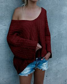 20+ Amazing Ways To Wear Oversized Sweaters Without Looking Like A Schlump - Burgundy Sweater with Jean Shorts
