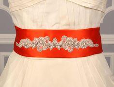 Autumn Orange Discount Designer Wedding Dress Sash www.yourdreamdress.com