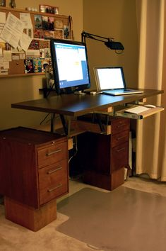 DIY Convertible Standing Desk - Imgur Love the idea of adding 2 file cabinets for the base.