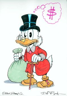 UNCLE SCROOGE COLOR PIN-UP DRAWING