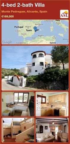 Villa for Sale in Monte Pedreguer, Alicante, Spain with 4 bedrooms, 2 bathrooms - A Spanish Life Alicante Spain, Wood Burner, Central Heating, Seville, Two Bedroom, Dining Area, Terrace, Italy, Bath