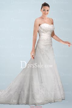 Fabulous Satin Strapless Bridal Dress with Glistening Beaded Lace and Sequins