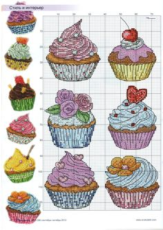 cross stitch - cupcakes                                                                                                                                                                                 More