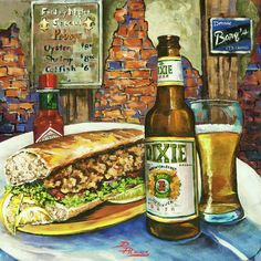 Friday Night Special - Dixie Beer, Fried Shrimp Po& Tobasco, New Orleans Food, New Orleans Art, Louisiana Art by New Orleans Artist Louisiana Art, Louisiana Recipes, Louisiana Creole, Louisiana Crawfish, Louisiana Swamp, Shrimp Po Boy, Fried Shrimp, French Quarter, New Orleans Jazz