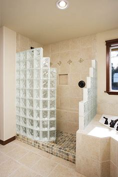Glass Block Shower Wall & Walk in Designs: Nationwide Supply & Columbus & Cleveland, Ohio Bathroom Renos, Bathroom Interior, Modern Bathroom, Bathroom Remodeling, Bathroom Spa, Chic Bathrooms, Small Bathrooms, Contemporary Bathrooms, Bathroom Vanities