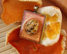 """#Handmade orange #pendant with real sea shell.  Size: 2.5 * 4 cm = 1 * 1.5""""  All creations are made by me personally. Each item is unique, because it is based on my own ideas... #gift #handmade #botanical #pendantic #creationsoftruefairy"""