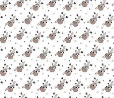 Sweet sloths cute rainforest inspired sloth design tree print gender neutral beige fabric by littlesmilemakers on Spoonflower - custom fabric