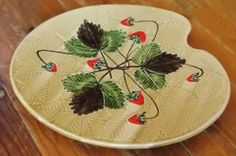 Vintage french artists pallet shaped serving plate by Poet-Laval Pottery, Drome