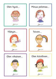 Learn Finnish, Finnish Language, Teaching, Activities, Feelings, Comics, School, Opi, Montessori Activities