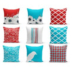 Outdoor Pillows Red Turquoise White Patio Decor Outdoor Throw Pillows ($35) ❤ liked on Polyvore featuring home, outdoors, outdoor decor, decorative pillows, home & living, home décor, silver, outdoor toss pillows, red outdoor pillows and outdoor accent pillows