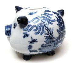 Blue Willow Piggy Bank