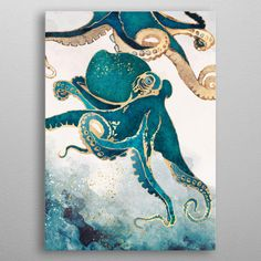"""Find & buy curated fine art prints like """"Underwater Dream V"""" from artist Spacefrog Designs Canvas Art Prints, Framed Art Prints, Painting Prints, Fine Art Prints, Paintings, Fabric Paper, Canvas Fabric, Octopus Art, Octopus Painting"""
