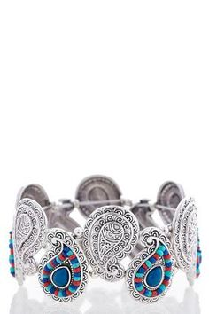 Cato Fashions Beaded Etched Paisley Stretch Bracelet #CatoFashions