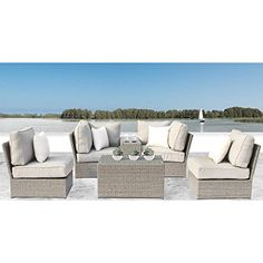 online shopping for Winsford 6 Piece Sectional Seating Group Cushions Rosecliff Heights from top store. See new offer for Winsford 6 Piece Sectional Seating Group Cushions Rosecliff Heights Outdoor Sofa Sets, Outdoor Seating, Outdoor Furniture Sets, Outdoor Living, Outdoor Sectional, Garden Furniture, Outdoor Spaces, Furniture Ideas, Modern Furniture
