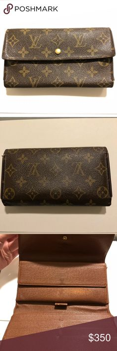 Louis Vuitton trifold wallet Item description  Made in (France ). date Code ( MB0023) Material (leather ). Color (  classic monogram )  Condition Outside  ( good)  Leather has edge wear see photos  Inside (  good)  See photos for wear. Some interior markings are present are present Louis Vuitton Bags Wallets