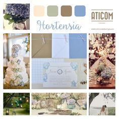 """Mood Board de las invitaciones de boda """"Hortensia"""" ~Aticom."""
