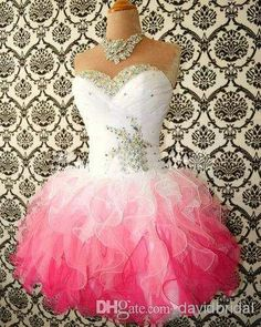 Wholesale Sexy - Buy 2014 Hot Sale Pink And White Cute Homecoming Dresses Ball Gowns Corset Tie Back Graduation Dress Short Prom Dress Cocktail Gowns No Sleeve, $64.94 | DHgate