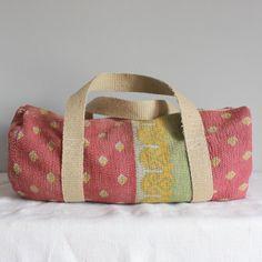 Duffle bag | vintage kantha | patchwork | roxy creations | overnight bag | multi use bag | bohemian bag | boho