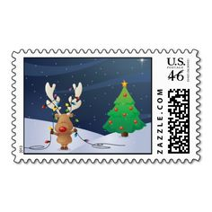 Rudolph with Christmas Tree Postage