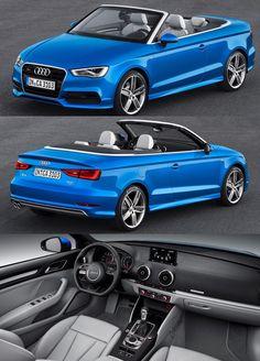 2015 S3 Cabriolet Audi R8 Blue, Convertible, Audi A3 Cabriolet, Fiat 500c, Range Rover Evoque, Expensive Cars, Fast Cars, Super Cars, Automobile