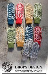 Mittens Pattern, Crochet Pattern, Free Pattern, Knit Crochet, Drops Design, Knitting Patterns Free, Free Knitting, Fair Isle Knitting, Lilacs