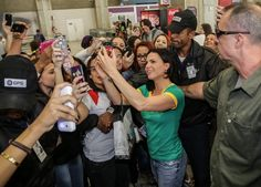 Lana Parrilla arriving in Rio and meeting fans at the airport.