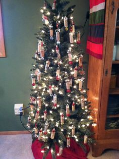 Wine corks make great ornaments on a wine themed tree.  Did I really have that many dinner parties?