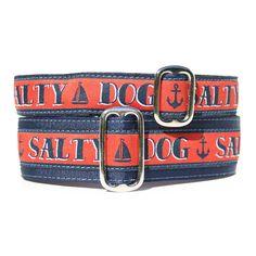 Salty Dog Dog Collar - Exclusive Design! | Classic Hound Collar Co. #dogcollar #handmade #handcrafted #madeinamerica #madeinUSA #seaside #ocean #nautical #sailboat