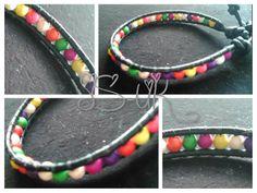 Handcrafted Leather & Gemstone Single Wrap Bracelet  - Multi Colour Howlite