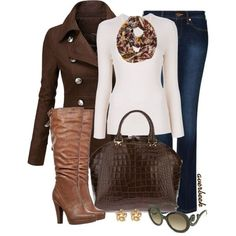 Brown coat: check. Cream sweater: check. Brown boots and purse: check. Multi-colored scarf: check. I can do this!