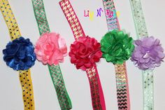 Tulle Puff Flower and by LilyNRoseHeadbands, Baby Headbands, Tulle, Flowers, Stuff To Buy, Tutu, Royal Icing Flowers, Floral, Kids Headbands, Florals