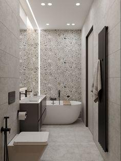 De&De/Eco minimalism apartment on behance basement house, basement bathroom, videos online, Bad Inspiration, Bathroom Inspiration, Modern Bathroom Design, Bathroom Interior Design, Bathroom Designs, Decorating Small Spaces, Interior Decorating, Small Apartment Decorating, Interior Concept