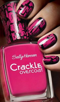 Hot Pink & Black Sally Hansen Crackle Overcoat Nails