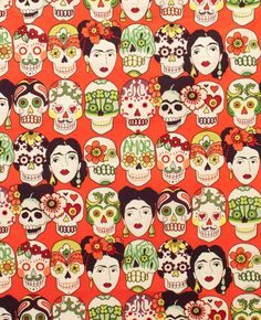 NEW Frida Kahlo Gotas de Amor- Alexander Henry Scenes 1 Yard Fabric