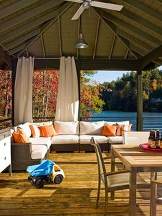 Create an Outdoor Porch Retreat Scenic Escape: What could be more appealing on a warm day than lounging in a comfy seat, gazing out at a by damie Outdoor Rooms, Outdoor Living, Outdoor Decor, Lakeside Living, Outdoor Ideas, Backyard Ideas, Haus Am See, Garden Cushions, Teak Outdoor Furniture