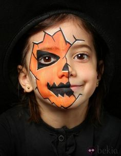 Halloween make-up kids - 13 scary awesome and simple .- Halloween Schminkideen Kinder – 13 unheimlich tolle und einfache Ideen Halloween make-up kids – 13 awesome great and simple ideas – pumpkin lantern – face painting - Deer Face Paint, Mermaid Face Paint, Pumpkin Face Paint, Pumpkin Painting, Halloween Face Paint Scary, Halloween Makeup For Kids, Halloween Tags, Family Halloween, Halloween 2020