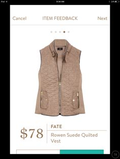 Hannah - IN LOVE with this in this color! Medium in the Fate Rowen Suede Quilted Vest. This color!!