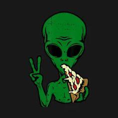 Arte Alien, Alien Art, Skateboard Design, Skateboard Art, Graffiti Wallpaper Iphone, Juniors Graphic Tees, Alien Aesthetic, Pizza Art, Alien Tattoo