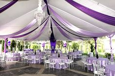 Purple. Love the silver chairs.