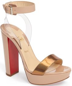 Christian Louboutin 'Cherry' Patent Leather & PVC Ankle-Strap Sandals