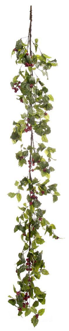 Green Christmas Holly Leaf Garland 150cm
