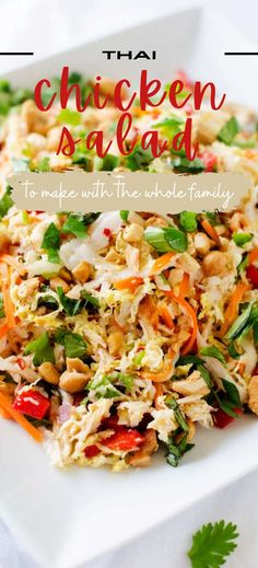 Healthy dinners don't get any better than this delicious easy to make Thai Chicken Salad Recipe. This crunchy salad holds up well in the fridge and is a great make ahead salad for meal prep. SO DELICIOUS! Summer Salad Recipes, Healthy Salad Recipes, Healthy Dinners, Thai Chicken Salad, Chicken Salad Recipes, Gluten Free Recipes For Breakfast, Healthy Gluten Free Recipes, Dinner Salads, Fabulous Foods