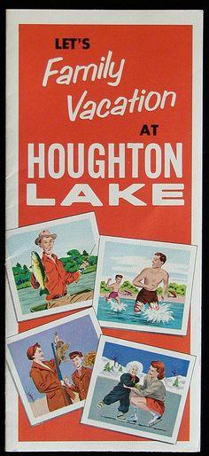 """Let's Family Vacation at Houghton Lake, (Michigan)"" vintage travel brochure"