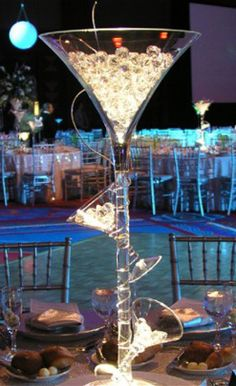 Sweets In A Wedding Centre Piece Giant Martini Glass Martini Centerpiece Candy